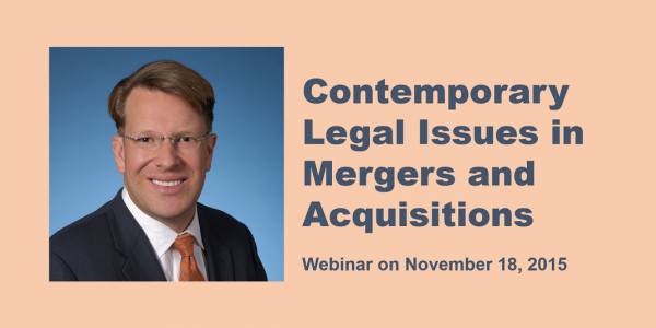 Contemporary Legal Issues in M&A Webinar John McDonald