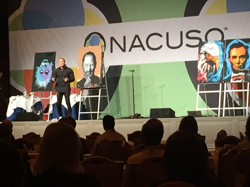 Keynote speaker Erik Wahl presents at the 2016 NACUSO Annual Conference.