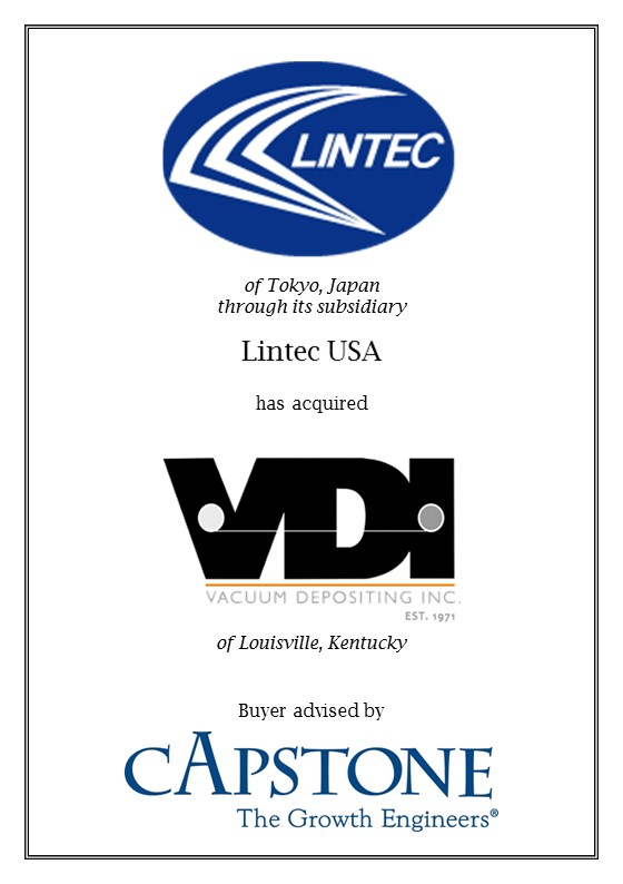 Capstone Guides Acquisition of VDI by Japan's Lintec USA