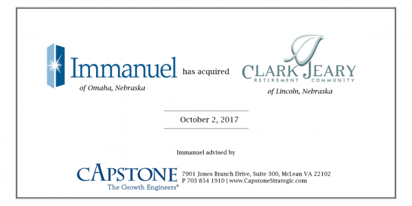 "Capstone Strategic Guides Immanuel on ""Not-for-Sale"" Acquisition of Senior Living Community Clark Jeary"